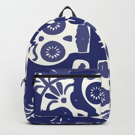 Talavera Mexican tile inspired bold Day of the Dead blue and white pattern Backpack