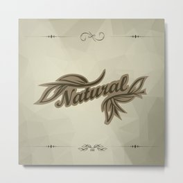 sticker badge with the inscription sheet and Natural. in natural colors Metal Print