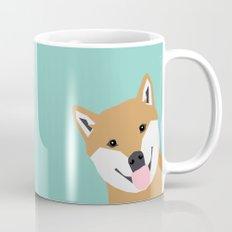 Shiba Inu Peek - cute shiba doge peeking funny dog art print mint turquoise customizable dog gift Mug