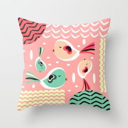 Funny birds in pink and blue Throw Pillow