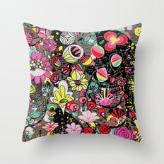 Neon Floral Throw Pillow