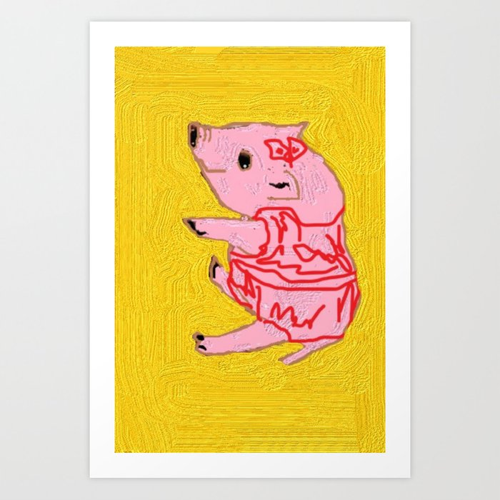 Anthro piglet in red Art Print by vanamonkey | Society6