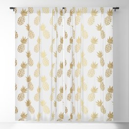 Gold Pineapple Pattern Blackout Curtain
