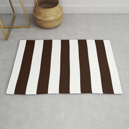 Root beer - solid color - white stripes pattern Rug