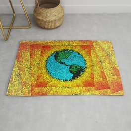 Abstract Planet Earth Pop Art Rug
