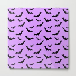 Black Bat Pattern on Purple Metal Print