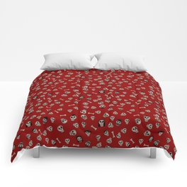 Skull Town (on Hell-Fire Red Background) Comforters