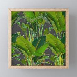 GREEN-GREY JUNGLE FOLIAGE ART Framed Mini Art Print