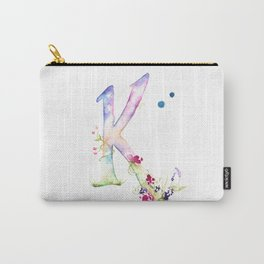 Letter K watercolor - Watercolor Monogram - Watercolor typography - Floral lettering Carry-All Pouch