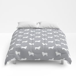 Australian Shepherd silhouette grey and white dog breed pattern simple minimal dog gifts Comforters