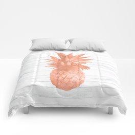 Rose Gold Pineapple on Wood Nautical Decor Comforters