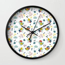 winter birds pattern Wall Clock
