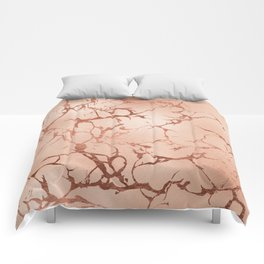 Modern abstract rose gold glitter stylish marble Comforters