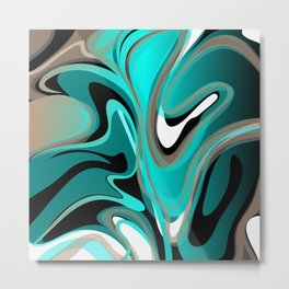Liquify 2 - Brown, Turquoise, Teal, Black, White Metal Print