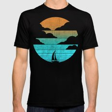 Go West (sail away in my boat) Black Mens Fitted Tee LARGE