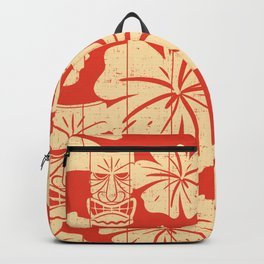 Tiki Pattern in Red Backpack