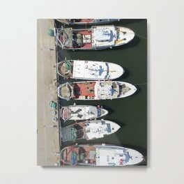 Fishing boats at the pier from above... Metal Print