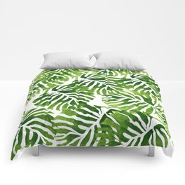 Tropical Leaves - Green Comforters