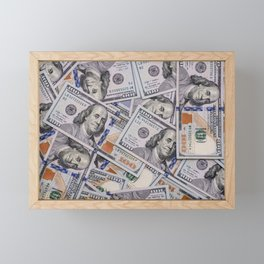 Hundred Dollar Bills Scattered Framed Mini Art Print