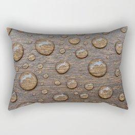 Water Drops on Wood 5 Rectangular Pillow