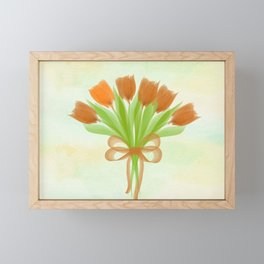 Orange Tulips Spring Framed Mini Art Print