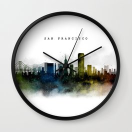 San Francisco Watercolor Skyline Wall Clock