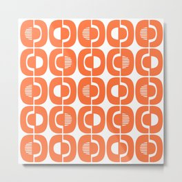 Retro Mid Century Modern Pattern 339 Orange Metal Print