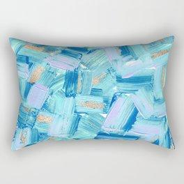Artsy Abstract Modern Ocean Blue Brushstrokes Art Rectangular Pillow