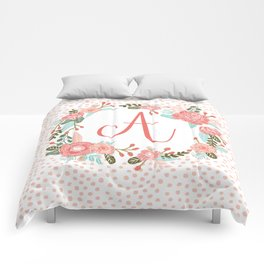 Monogram A - cute girls coral florals flower wreath, coral florals, baby girl, baby blanket Comforters