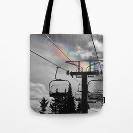 4 Seat Chair Lift Rainbow Sky B&W Tote Bag