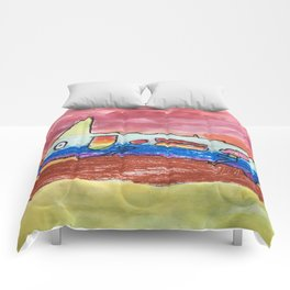 Colorful Watercolor Mixed Media Gekko Lizard Rainbow Wildlife Animal Print Comforters