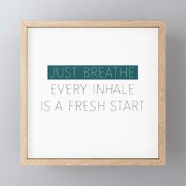 Just Breathe - Teal Typography Framed Mini Art Print