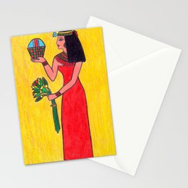 Ancient Egyptian woman with offerings Stationery Cards