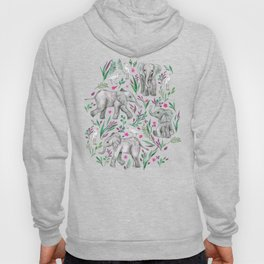 Baby Elephants and Egrets in Watercolor - burgundy red Hoody