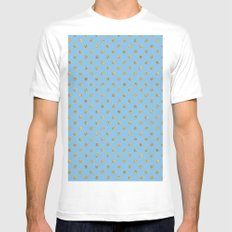 Gold polkadots on sky blue background Mens Fitted Tee MEDIUM White
