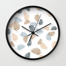Palm leaves tropical beach garden hawaii jungle pattern blue rust Wall Clock