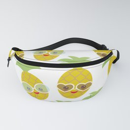 funny kawaii exotic fruit pineapple with sunglasses on white background Fanny Pack