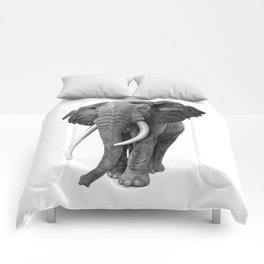 Bull elephant - Drawing in pencil Comforters