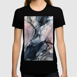 Blush, Navy and Gray Abstract Calm Clouds T-shirt