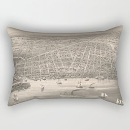 Vintage Pictorial Map of Toledo OH (1860) Rectangular Pillow