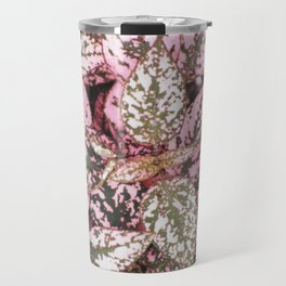 Green veined pink leaves Travel Mug