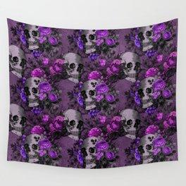 Gothic Flower Skulls Wall Tapestry