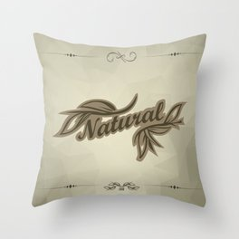 sticker badge with the inscription sheet and Natural. in natural colors Throw Pillow