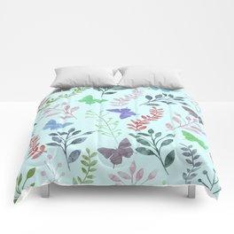 Watercolor flowers & butterflies II Comforters