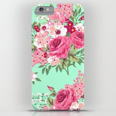 Cottage Chic Roses and Lilacs Floral in Aqua and Pink iPhone 6 Plus Slim Case