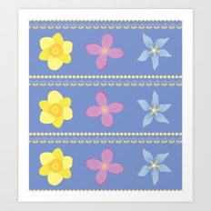 Spring Flowers Pattern [BLUE] Art Print
