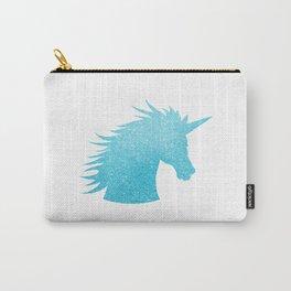 Blue Glitter Unicorn Carry-All Pouch