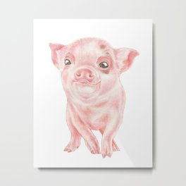 Baby Pig   Watercolour   Baby Animal Art   Animals Metal Print