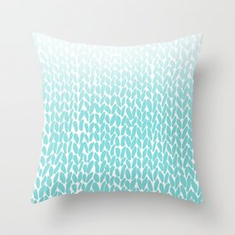 Hand Knitted Ombre Teal Throw Pillow