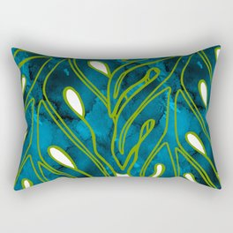 Blue & Green Mix Lau Ulu Leaf Rectangular Pillow